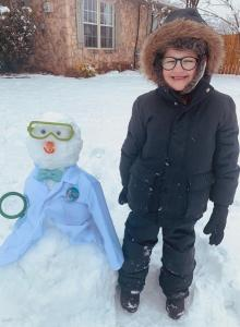 6-year-old Jackson Fisher who loves science! We made Bill Nye the Snowman Guy